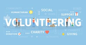 Volunteering concept illustration. Idea of free help and work Stock Image