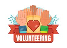 Volunteering concept vector badge illustration. With hands, heart and ribbon Royalty Free Stock Images