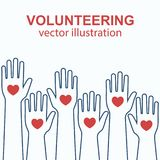 Volunteering concept vector. Volunteering concept. Raised hands up design line. Volunteering charity. Vector illustration flat style.  on white background. Heart Stock Photos