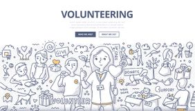 Volunteering Doodle Concept. Doodle vector illustration of a volunteers, doing altruistic social activity. Volunteering concept for web banners, hero images Stock Image