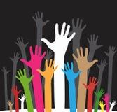 Volunteering hands part 2. Vector version of happy volunteering hands Stock Photo