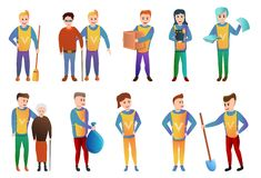 Volunteering icons set, cartoon style royalty free illustration