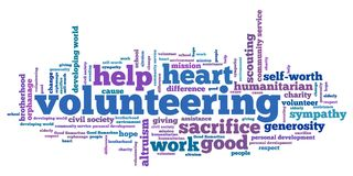 Volunteering. Issues and concepts word cloud illustration. Word collage concept Royalty Free Stock Photo
