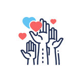 Volunteering - modern vector line design single icon. Royalty Free Stock Image