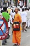 Volunteering The Rath Yatra Procession. A young hindu devotees volunteering the procession of ISKON Rathyatra at Kolkata,West Bengal,India stock image