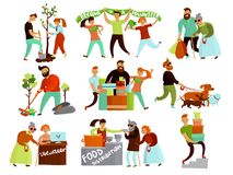 Volunteering Situations Cartoon Collection. Volunteers helping people set of isolated cartoon style compositions of young humanitarian characters in various Royalty Free Stock Images
