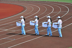 Volunteers. The 9th national traditional games of ethnic minority of the people's republic of china,the image showing volunteers are working,photo taken in Sep Stock Photo