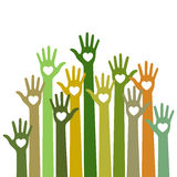 Volunteers bright colorful caring up hands hearts vector design element on sky background. Stock Image