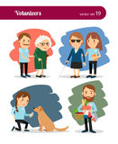 Volunteers care. For the elderly and disabled. Vector illustrations Royalty Free Stock Photos