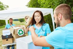 Volunteers collect donations royalty free stock photography