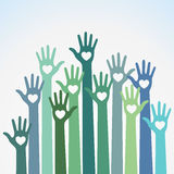 Volunteers colorful caring up hands hearts vector logo design element. Green blue colorful caring up hands hearts vector logo design element. Volunteers hands Stock Photography