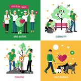 Volunteers 2x2 Design Concept. Set of help animals planting clean city and save nature action compositions flat vector illustration Royalty Free Stock Images
