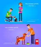 Volunteers design concept. Vector detailed character Volunteer design concept with woman Volunteer and a man Volunteer  feed dog and cat, Volunteer veterinary Royalty Free Stock Photography