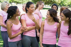 Volunteers discussing during breast cancer awareness Royalty Free Stock Images