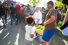 Volunteers distributing Apples to Refugees in Tovarnik Royalty Free Stock Photo