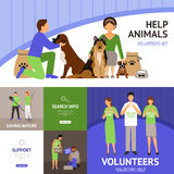 Volunteers flat set. Volunteers concept set with animals and homeless help flat icons vector illustration Royalty Free Stock Photos