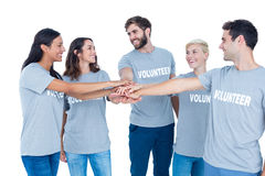 Volunteers friends putting their hands together Royalty Free Stock Photography