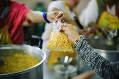 Volunteers are giving food to the homeless poor : the concept of humane.  royalty free stock images