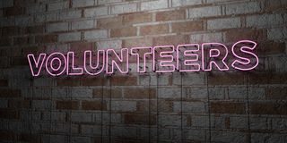 VOLUNTEERS - Glowing Neon Sign on stonework wall - 3D rendered royalty free stock illustration. Can be used for online banner ads and direct mailers Royalty Free Stock Photos