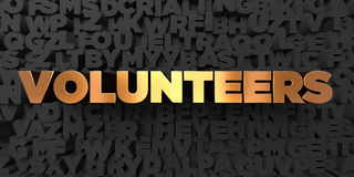 Volunteers - Gold text on black background - 3D rendered royalty free stock picture. This image can be used for an online website banner ad or a print postcard Royalty Free Stock Image