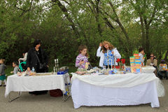 Volunteers. At Lag B'Omer celebration  in Earl Bales Park in May 18, 2014 in Toronto, Canada Stock Photo
