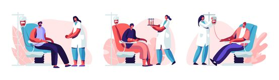 Volunteers Male Characters Sitting in Medical Hospital Chairs Donating Blood. Doctor Woman Nurse Take it in Test Flasks, Donation. World Blood Donor Day stock illustration