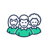 Volunteers - modern   vector line icon. Volunteers - modern   vector single line design icon. An image depicting three people always ready to help, aid for a Royalty Free Stock Image
