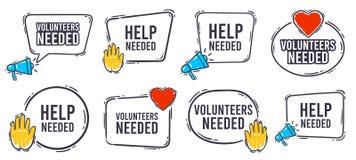 Free Volunteers Needed Banner. Help Needed Label With Heart, Helping Hand And Advertising Horn Loudspeaker Icon. Volunteer Royalty Free Stock Photo - 190240775