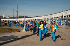 Volunteers in the Olympic Park Royalty Free Stock Photos