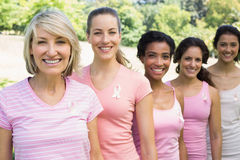Volunteers participating in breast cancer awareness Stock Images