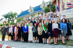 Volunteers of the Peace Corps of the United States. SINGBURI - JANUARY 14 : Volunteers of the Peace Corps of the United States, conference of Teacher Stock Images