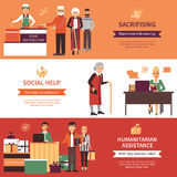 Volunteers People Banners. Set of food distribution social help with legal consultations and humanitarian assistance compositions flat vector illustration Stock Photo
