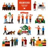 Volunteers People Decorative Icons Set Stock Photo