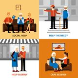 Volunteers People 2x2 Design Concept. Volunteers 2x2 design concept with young people helping elderly needy in medical and social care flat vector illustration Stock Image
