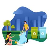 Volunteers picking up plastic garbage outdoor. Volunteering, ecology and environment concept. Vector illustration stock illustration