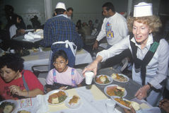 Volunteers serving Christmas dinner for the homeless, Los Angeles, California Stock Images