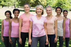 Volunteers supporting breast cancer awareness in park Stock Image
