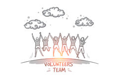 Volunteers team concept. Hand drawn isolated vector. Vegan concept. Hand drawn group of happy volunteers celebrating success. Community of people doing charity vector illustration