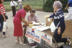 Volunteers working for Republican registration Stock Photo