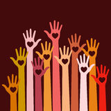 Volunteers wWarm colors bright colorful caring up hands hearts vector logo design element on dark red background. Stock Image