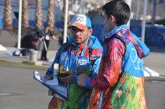 Volunteers at XXII Winter Olympic Games Sochi 2014 Stock Photo