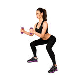 Voluptuous adult sexy woman doing fitness. Isolated on white background Stock Images