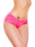 Beautiful female body in underwear. Voluptuous female body in sexy pink underwear Royalty Free Stock Photo