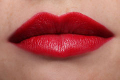 Voluptuous Red Lips. Closed female lips with red lipstick Royalty Free Stock Image