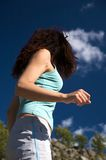 Voluptuous woman. Woman trekking at gredos mountains in avila spain Stock Images
