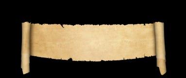 Voluta antigua del pergamino en fondo negro Fotos de archivo libres de regalías