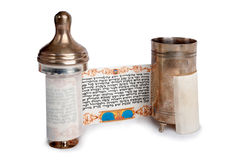Voluta de Torah con el caso Foto de archivo libre de regalías