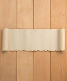 Voluta del pergamino en la madera Foto de archivo libre de regalías