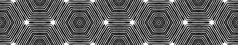 Voluta inconsútil blanco y negro oscura de la frontera Geome foto de archivo libre de regalías