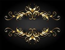 Voluta simétrica del marco del oro en fondo negro ilustración del vector